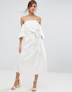 Платье с открытыми плечами и поясом на талии Stevie May - Белый