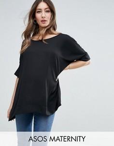 Свободная футболка‑кимоно для беременных с V‑образным вырезом сзади ASOS Maternity - Черный