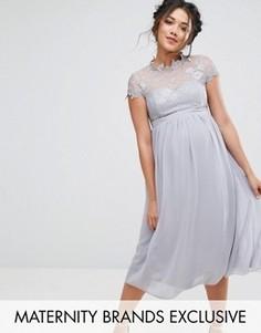 Приталенное платье с кружевным лифом Little Mistress Maternity - Серый