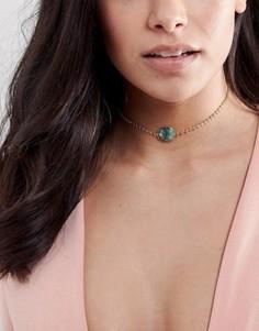 Ожерелье-чокер с полудрагоценным камнем Rock N Rose Corinna - Золотой