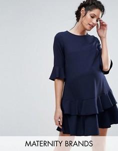 Платье мини с расклешенными рукавами и оборками по краю Queen Bee - Темно-синий