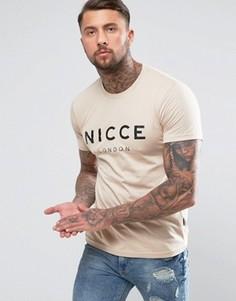 Бежевая футболка с логотипом Nicce London - Бежевый