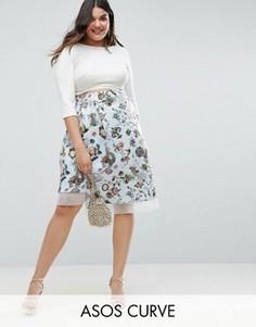 Асимметричная юбка со вставкой из органзы и принтом ASOS CURVE - Мульти