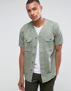 Бейсбольная рубашка оливкового цвета с короткими рукавами и карманами Abercrombie & Fitch - Зеленый