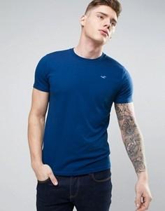 Синяя футболка узкого кроя с логотипом Hollister - Синий