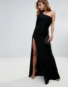 Платье макси на одно плече с разрезом City Goddess - Бежевый