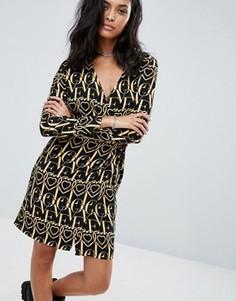 Платье с длинным рукавом и принтом Love Moschino - Черный
