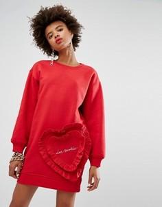 Платье-свитшот с рюшами Love Moschino - Красный