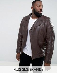 Кожаная байкерская куртка Barneys PLUS - Коричневый Barneys Originals