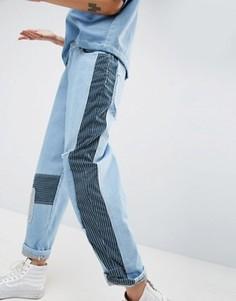 Разноцветные джинсы в стиле пэчворк ASOS WHITE - Синий