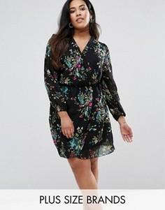 Платье с запахом и длинными рукавами AX Paris Plus - Мульти