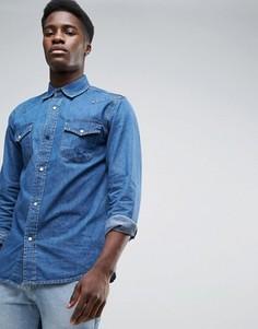 Синяя джинсовая рубашка в стиле вестерн Waven - Синий