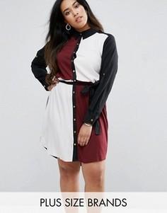 Платье-рубашка колор блок AX Paris Plus - Мульти
