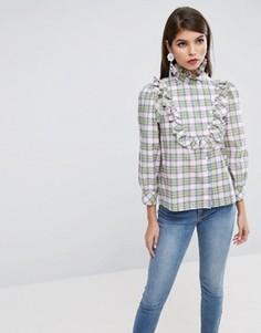 Рубашка в клетку с оборкой на груди ASOS - Мульти