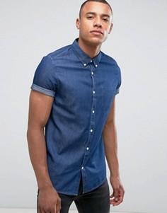Узкая джинсовая рубашка с короткими рукавами Burton Menswear - Темно-синий