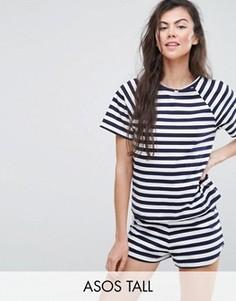 Пижамный комплект с футболкой и шортами в бретонскую полоску ASOS TALL - Синий