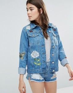 Джинсовая куртка с вышивкой Parisian Je Taime - Синий