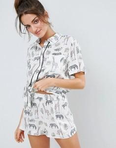 Пижамный комплект с принтом сафари ASOS - Мульти