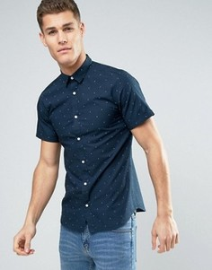 Рубашка узкого кроя с принтом Jack & Jones Premium - Темно-синий