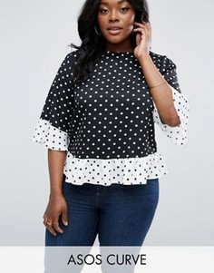 Черно-белая футболка в горошек ASOS CURVE - Мульти