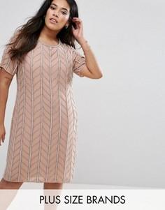 Цельнокройное платье с отделкой Lovedrobe Luxe - Розовый