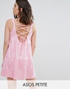 Свободный сарафан со шнуровкой на спине ASOS PETITE - Розовый