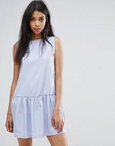 Свободное платье в клеточку Boohoo - Синий