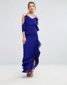 Платье макси с открытыми плечами и оборкой по краю True Decadence - Синий
