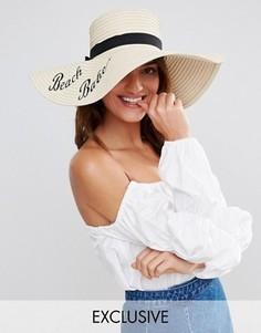Соломенная шляпа с фразой Beach Babe South Beach - Бежевый