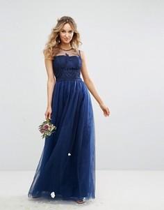 Платье макси из тюля с вышивкой и пуговицами на спине Chi Chi London - Темно-синий