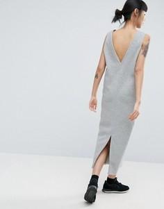 Платье-свитшот макси без рукавов с глубоким вырезом на спине ASOS - Серый