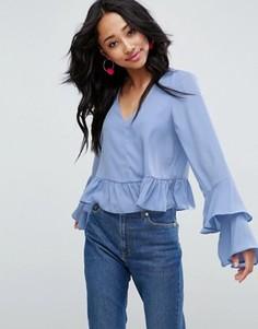 Блузка с рюшами на рукавах ASOS - Синий