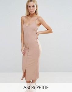 Облегающее платье макси с кнопками ASOS PETITE - Коричневый