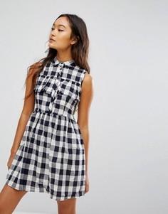 Платье-рубашка мини в клетку QED London - Темно-синий