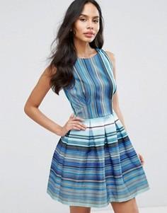 Короткое приталенное платье в полоску Closet London - Синий