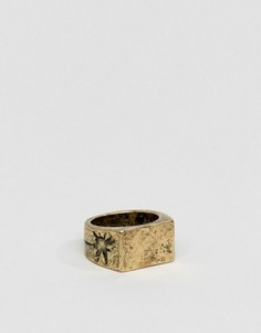 Шлифованное золотистое кольцо с печаткой и гравировкой Classics 77 - Золотой