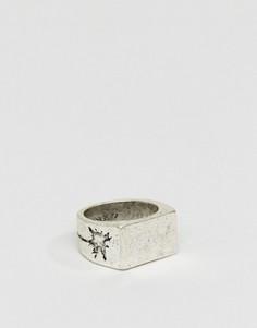 Шлифованное серебристое кольцо с печаткой и гравировкой Classics 77 - Серебряный