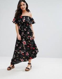 Платье-бандо макси с цветочным принтом QED London - Черный