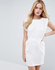 Платье мини с поясом, разрезами на коротких рукавах и юбкой-карандаш ASOS - Белый