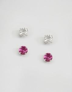 Набор из двух пар серег-гвоздиков с кристаллами Swarovski Krystal London - Розовый