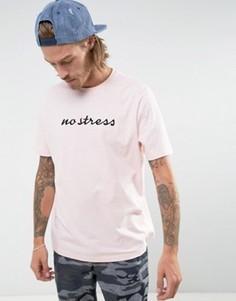 Свободная футболка с вышивкой ASOS - Розовый