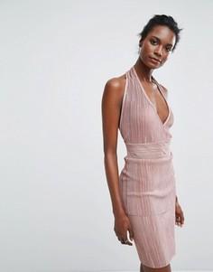 Платье халтер Wal G - Розовый