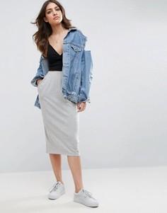 Трикотажная юбка-карандаш с карманами ASOS - Серый