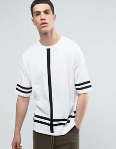 Трикотажная футболка с полосками ASOS - Белый