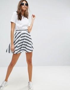 Фактурная мини-юбка в полоску ASOS - Белый