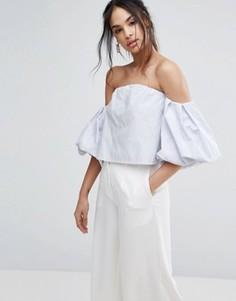 Блузка с широким вырезом и пышными рукавами Missguided - Мульти