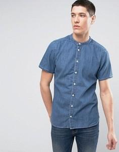 Джинсовая рубашка с короткими рукавами и воротником на пуговицах Casual Friday - Синий