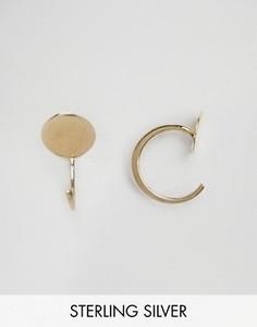 Серебряные позолоченные серьги ASOS - Золотой