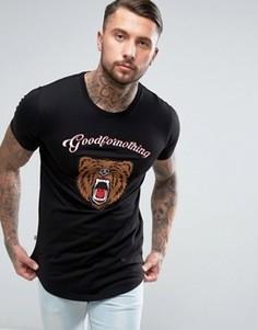 Черная футболка с вышитым медведем Good For Nothing - Черный