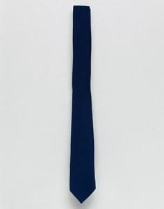 Темно-синий узкий галстук с вафельной текстурой ASOS - Темно-синий